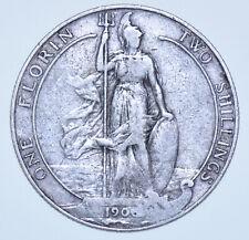 1906 FLORIN BRITISH SILVER COIN FROM EDWARD VII aVF