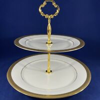 "2 TIER STAND WALLACE Porcelain Pantheon Gold Sri Lanka  10 3/4"" & 8 3/8"" plates"