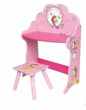 Children Dressing Table Desk Chair Set Girl Pink Princess Wooden Furniture Kids