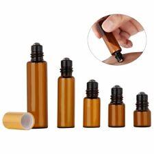 5pcs 1- 10ML Amber Roll On Glass Essential Oil Perfume Bottle Short Sample 10-20