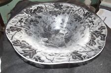 Fostoria Oak leaf Brocade plate etched #290 crystal console bowl