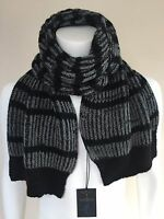 PAUL SMITH BLACK & GREY CHUNKY KNIT ANGORA BLEND STRIPE SCARF MADE IN ENGLAND