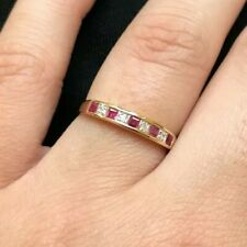9ct Yellow Gold Emerald Cut Ruby & Diamond Channel Set Half Eternity Ring Size R