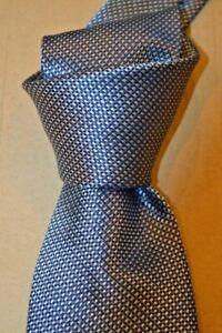 "$235 NWT BRIONI Blue white geometrics men's 3.75"" heavy Handmade silk tie ITALY"