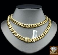 10K Solid Gold Miami Cuban Chain Necklace 11mm 22 Inch Box Lock Strong, Heavy