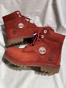 Timberland New Premium Dark Red Patch Boots Size(Men 6.5) (Women 8) AZA9C