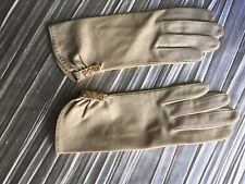 Vintage Crescendo beige cotton gloves size 6 made in Italy button detail