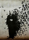 "BANKSY STREET ART CANVAS PRINT Hitchcock The Birds 24""X 18"" stencil poster"