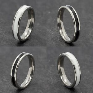 4mm Stainless Steel Silver Ring - Mens Womens Black White Wedding Band - Unisex