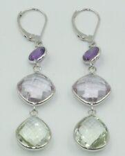 Purple, Pink & Green Amethyst Dangle Earrings,14K White Gold Leverbacks