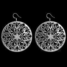 artisan hand-cast Large-Statement Er52 Filigree Oberon Design Earrings Pewter