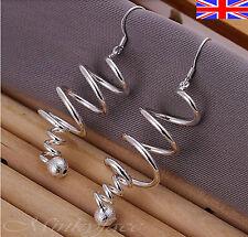 Silver 925 Sterling Twist Swirl Spiral Dangle Drop Earrings with Ball Gift Bag