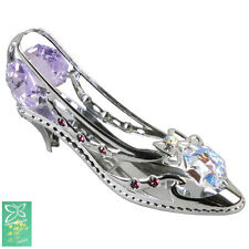 Collectable Ladies Girls Crystal Gift Silver High Heel Shoe Swarovski Elements