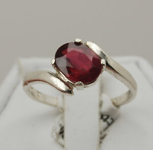Ruby 8x6mm Oval Ring - Sterling Silver
