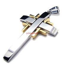Fashion Silver Gold Stainless Steel Cross Men's Pendant Necklace With Free Chain