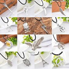 1 Halskette Charms Motive Anhänger Schwarz Wachsschnur Silber Geschenk M4764