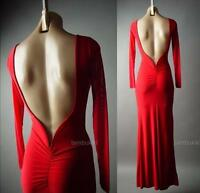 Red Mermaid Gown Open Back Backless Prom Formal Holiday Long 282 mv Dress S M L