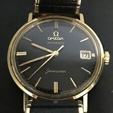 Omega Seamaster Black Dial Automatic Cal 562 Mens Gold Watch