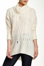 NWT Free People Complex in Ivory Destroyed Rip Cable Knit Cowl Sweater L $128