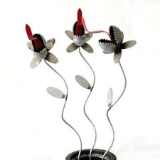 """Sugarpost Small Set of 3 Venus Fly Trap Plants with 16"""" Stake Garden Metal Art"""