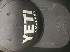 YETI COOLERS FULL PANEL HAT CAP GUNMETAL GRAY WITH EMBROIDERED LOGO NEW