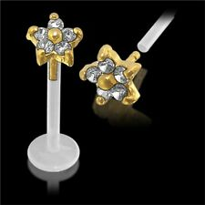 Labret Monroe 14k Carat Genuine Gold Bioplast Multi Gem Star Lip Tragus Bar 16g