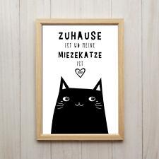 Bild Zuhause Ist Wo Meine Katze Ist Kunstdruck A4 Spruch Deko Poster Geschenk