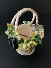 Capodimonte Porcelain Flower Basket Of Grapes, Flowers and Doves