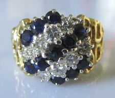 Secondhand 18ct yellow gold multi sapphire & diamond round cluster ring size N