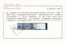 pacchi postali  del 1954 l. 1000 - cavallino - usato - certificato