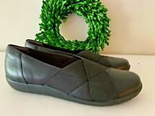 Clarks Soft Cushion Loafers Mules Slide On Leather Shoes Women's Size 7.5 👣ks4
