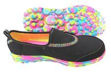 Skechers Go Walk Light Weight Slip On Black./Rainbow Sneakers Girls Size 11