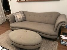 Dfs Grey Sofa, Chair and Footstool. Great Condition, with leather piping.