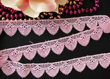 Very pretty pink  embroidered lace trim - price for 1 yard