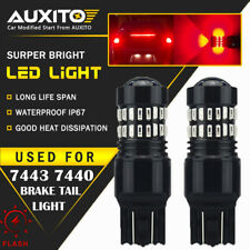 2 PC AUXITO 7443 7440 Brake Stop Light Red Flash Strobe Blinking LED Bulb US EDO
