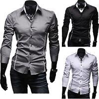 Mens Luxury Long Sleeve Shirt Casual Slim Fit Dress Formal Shirts Tops Fashion