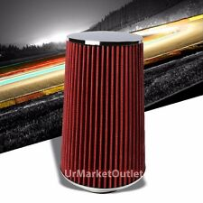 """Universal 3.00"""" Red Round Straight 10"""" Long Cone Gauze Air Filter For Air Intake"""