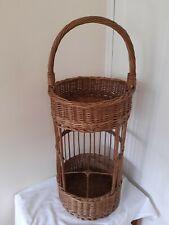 Vintage Wicker  Round Wine Bottle Basket