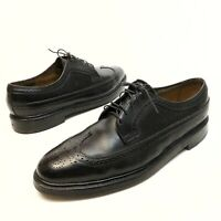 @@ Vtg Florsheim Imperial 12 D Black Pebbled Longwing V Cleat 5 Nail Oxfords EUC