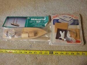 Vintage wooden model kit lot. Ship, sailboat, seachest, treasure chest. NOS/New