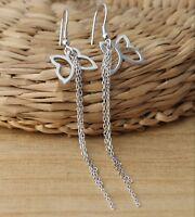 925 Sterling Silver Dangle Drop Butterfly Chain Stylish Earrings
