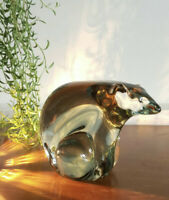 Vintage Schmid Mid Century Green Glass Polar Bear Paperweight MCM Art
