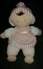 """Baby Gund Plush Doll Darcy Super Soft Pink 12"""" Blonde Flower Hat Lovey Dots"""