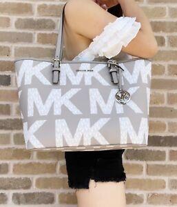 Michael Kors Jet Set Medium Carryall Graphic Logo White MK Signature Pearl Grey