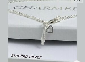 sterling silver anklet ankle chain solid silver FEATHER HEART CHARMS ladies 925