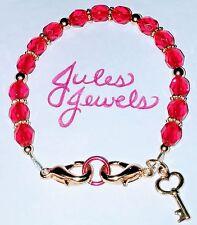 Czech Glass Beads Red Medical Alert ID Bracelet. GOLD! SUMMER!