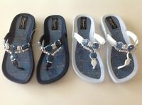 Grandco Dressy Beads Gemstones Rhinestones DENIM FLIP FLOPS Sandals Thongs