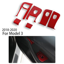 RED Car Accessories Window Switch Panel Covers Trim For 17-20 Tesla Model 3