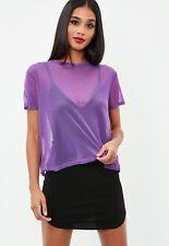 BNWT Missguided Mesh T-shirt Size 8 Tee Purple Festival Summer Holiday Fish Net