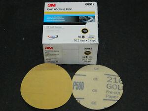 "BRAND NEW 3M 00912 HOOKIT 3"" GOLD 50 FEATHEREDGING DISCS P500 GRIT GRADE 0912"